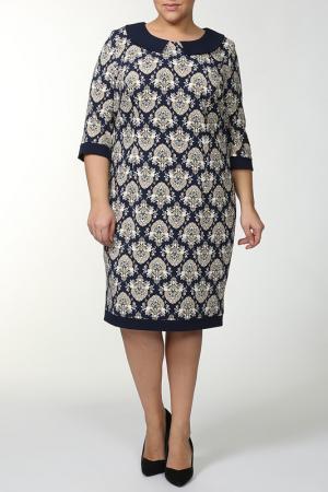 Платье с молнией по всей длине Зар-Стиль. Цвет: синий, белый