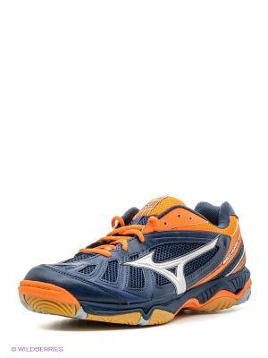 Кроссовки для волейбола Mizuno. Цвет: синий, оранжевый