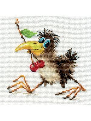 Наборы для вышивания Вороненок  12х12 см. Алиса. Цвет: желтый,серый,коричневый