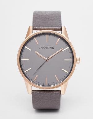 UNKNOWN Классические часы с серым кожаным ремешком. Цвет: серый
