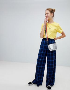 Daisy Street Широкие брюки в клетку с завышенной талией. Цвет: черный