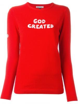 Джемпер с принтом-интарсией God Created Bella Freud. Цвет: красный