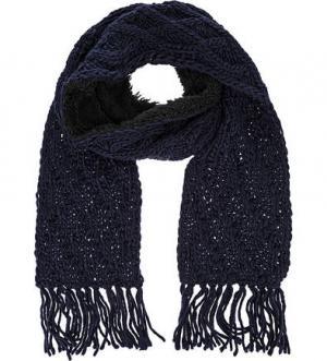 Синий шарф крупной вязки HERMAN. Цвет: синий