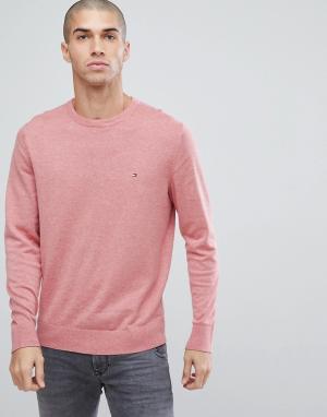 Tommy Hilfiger Розовый трикотажный джемпер с логотипом-флажком. Цвет: розовый