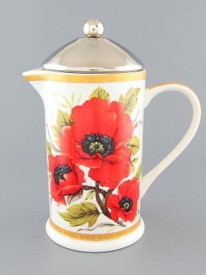 Чайник с поршнем Маки Elan Gallery. Цвет: белый, красный