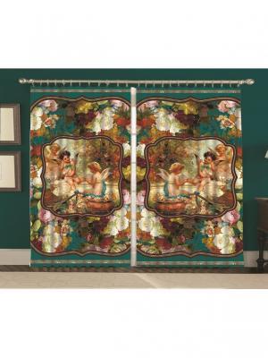 Комплект штор  Ангелочки 150*270 (2) МарТекс. Цвет: зеленый, бирюзовый, красный