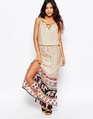 Anmol Пляжное платье макси с принтом слоны по краю. Цвет: мульти