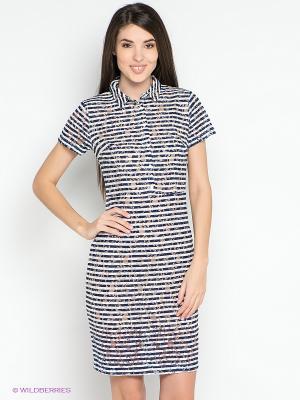 Платье Befree. Цвет: темно-синий, бежевый, белый