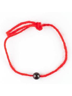 Браслет Красная нить гранат Колечки. Цвет: коричневый