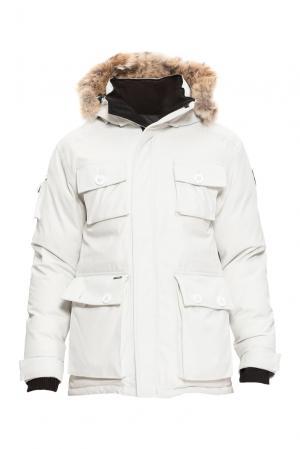 Парка-пуховик с капюшоном и мехом койота 152465 Nobis. Цвет: белый