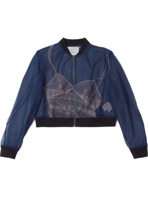 Куртка-бомбер колор-блок Quetsche. Цвет: синий
