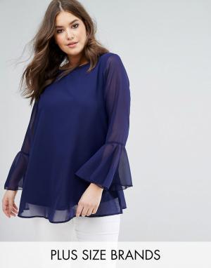Koko Темно-синяя блузка с рукавами клеш и вышивкой. Цвет: темно-синий