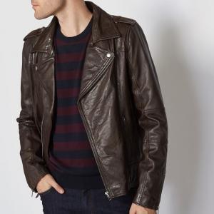 Блузон кожаный в форме perfecto R essentiel. Цвет: каштановый
