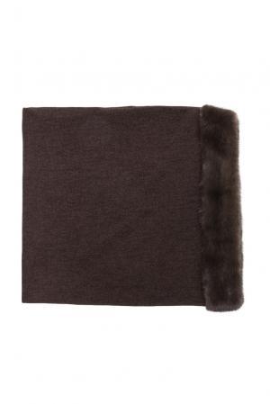 Головной убор из шерсти с отделкой меха норки 123256 Mkc. Цвет: коричневый
