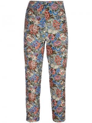 Укороченные жаккардовые брюки Ermanno Scervino. Цвет: многоцветный