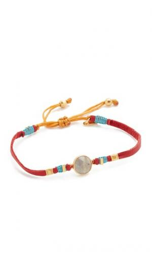Кожаный браслет с завязками бегунок лабрадорит Chan Luu