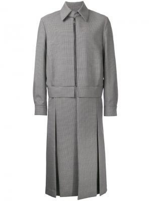 Пальто в ломаную клетку на молнии Wooyoungmi. Цвет: чёрный