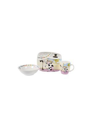 Посуда детская в наборе Веселая Коровка 3 предмета п/у Elff Ceramics. Цвет: белый, розовый