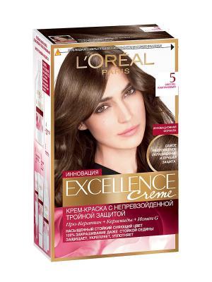 Стойкая крем-краска для волос Excellence, оттенок 5, Светло-каштановый L'Oreal Paris. Цвет: коричневый