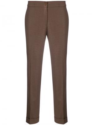 Узкие жаккардовые брюки Etro. Цвет: коричневый