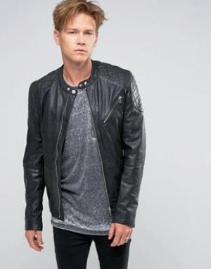 Goosecraft Черная кожаная байкерская куртка со стеганой отделкой. Цвет: черный