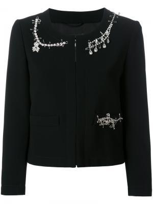 Пиджак декорированный кристаллами Boutique Moschino. Цвет: чёрный