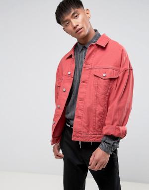 ASOS Красная джинсовая оверсайз-куртка. Цвет: красный