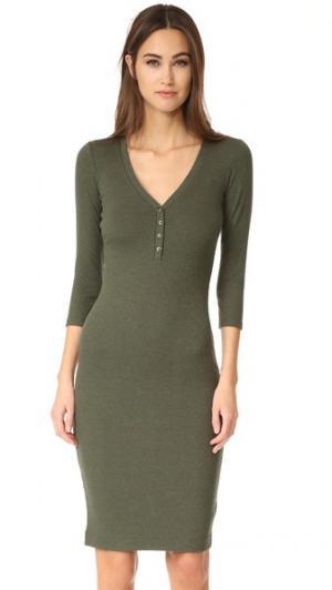 Платье Aurora с передней застежкой и длинными рукавами L'AGENCE. Цвет: оливковый меланж