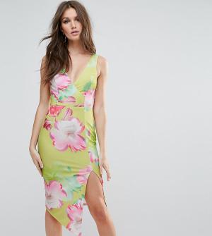 Ginger Fizz Платье миди с глубоким вырезом и цветочным принтом. Цвет: мульти