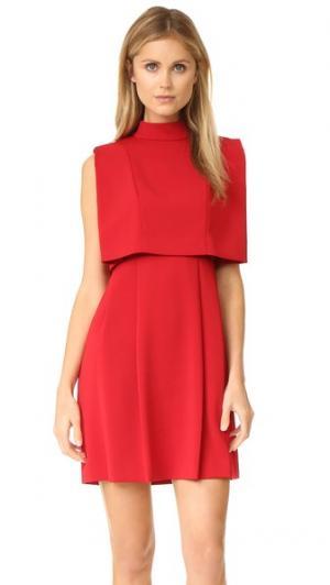Воздушное платье с воротником под горло Intropia. Цвет: красный