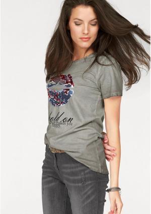 Футболка Aniston. Цвет: серый