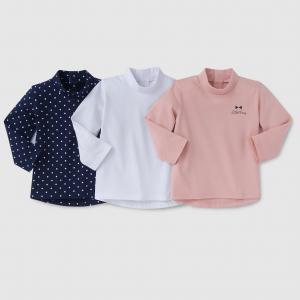 3 футболки с закатывающимся воротником 1 мес-3 лет R édition. Цвет: синий + розовый + белый