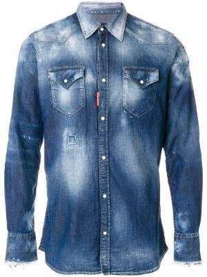 Джинсовая рубашка с линялым эффектом Dsquared2. Цвет: синий