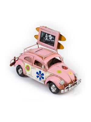 Модель Ретро Автомобиль розовый, с фоторамкой и копилкой 4х7см PLATINUM quality. Цвет: розовый