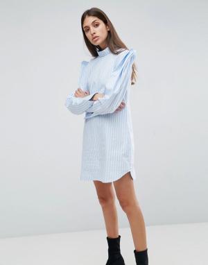 ASOS Хлопковое платье-рубашка в полоску. Цвет: мульти