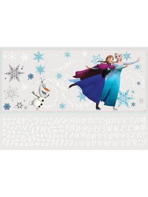 Наклейки для декора Холодное сердце: Эльза, Анна и Олаф ROOMMATES. Цвет: голубой, бежевый, серый, фиолетовый