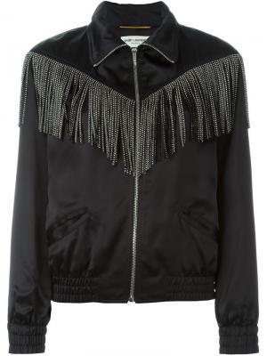 Куртка-бомбер с бахромой Saint Laurent. Цвет: чёрный
