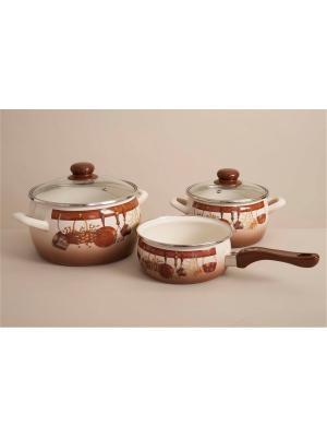 Набор посуды 5 предметов (кастрюли 2,2л, 4л со стеклянными крышками, ковш 1,85л без крышки) METROT. Цвет: коричневый