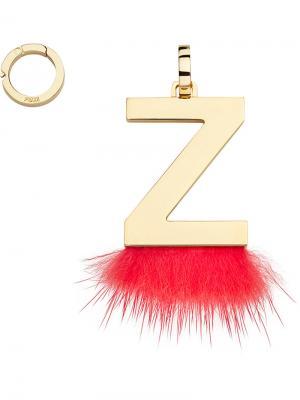 Подвеска в виде буквы Z Fendi. Цвет: красный
