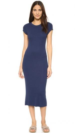 Платье с короткими рукавами из ткани в рубчик Enza Costa. Цвет: атлантический