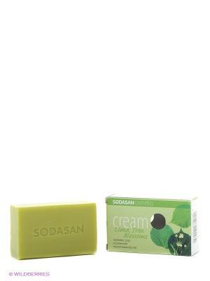 Мыло-крем туалетное твердое глицериновое Цветы Липы, 100 гр Sodasan. Цвет: светло-зеленый