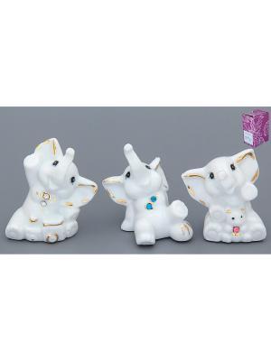 Фигурка декоративная Веселые слонята Elan Gallery. Цвет: белый, голубой, золотистый