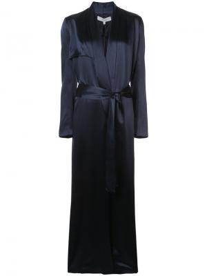 Длинное пальто-накидка Galvan. Цвет: синий
