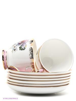 Чайный набор на 6 перс. Цветок Неаполя Pavone. Цвет: белый, розовый