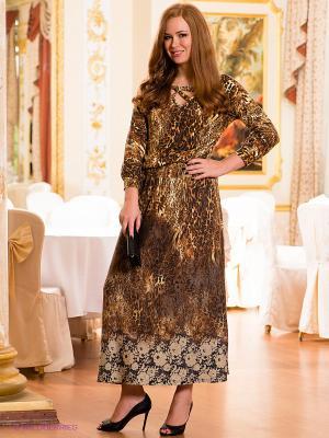 Платье МадаМ Т. Цвет: светло-коричневый, желтый, оливковый
