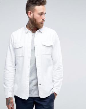 Hoxton Shirt Company Рубашка слим. Цвет: белый