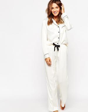 Bluebella Пижамный комплект из рубашки и брюк Claudia. Цвет: белый