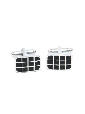 Запонки классические черные клеточки Churchill accessories. Цвет: серебристый