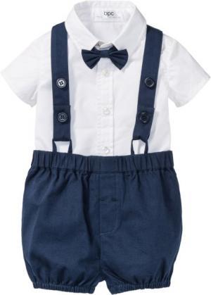 Модя для малышей: рубашка + бабочка брюки (3 изд.) (белый/темно-синий) bonprix. Цвет: белый/темно-синий