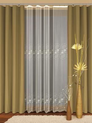 Комплект штор Haft. Цвет: золотистый, белый